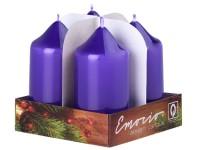 Emocio adventní válec 4ks 40x75 Lak fialové svíčky