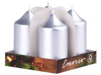 Emocio adventní válec 4ks 40x75 Metal stříbrné svíčky