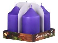 Emocio adventní válec 4ks 50x90 fialové svíčky