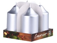 Emocio adventní válec 4ks 50x90 Metal stříbrné svíčky