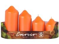 Emocio adventní stupně 4ks prům.50mm Lak oranžové svíčky