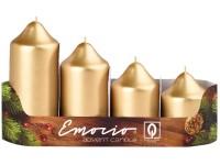Emocio adventní stupně 4ks prům.50mm Metal zlaté svíčky