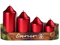 Emocio adventní stupně 4ks prům.50mm Metal červené svíčky