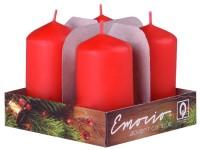 Emocio adventní válec 4ks 35x65 červené svíčky