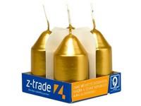 Válec 4ks 35x65 Metal zlaté svíčky