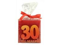 Kostka Vše nejlepší 30 let 53 mm vonná svíčka