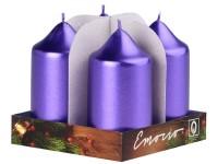 Emocio adventní válec 4ks 40x75 Metal tm. fialové svíčky