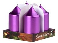 Emocio adventní válec 4ks 40x75 Metal sytě fialové svíčky