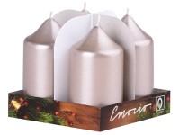 Emocio adventní válec 4ks 40x75 Metal béžovošedé svíčky