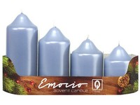 Emocio adventní stupně 4ks prům.50 mm Metal sv. modré svíčky
