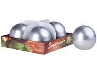 Emocio adventní koule 4ks 60mm Metal stříbrné svíčky