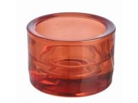 Svícen sklo 57x83 červený na mal./velkou čajovou svíčku