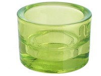 Svícen sklo 57x83mm svěží zelený na mal./velkou čajovou svíčku