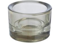 Svícen sklo 57x83 šedý na mal./velkou čajovou svíčku