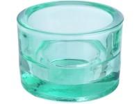 Svícen sklo 57x83mm zelenomodrý na mal./velkou čajovou svíčku