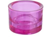Svícen sklo 57x83mm růžový na mal./velkou čajovou svíčku