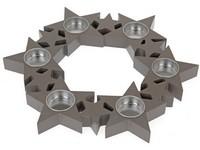 Svícen dřevo 310 mm Hvězdy v kruhu šedá na 6ks čaj. svíček