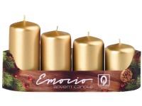 Emocio adventní stupně 4ks prům. 40mm Metal zlaté svíčky