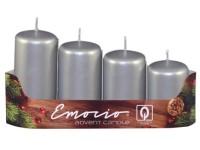 Emocio adventní stupně 4ks prům. 40mm Metal stříbrné svíčky