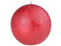 Emocio Rustic koule 100mm metal červená svíčka