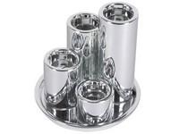 Svícen keramický 4ks, podtácek stříbrný na čajovou svíčky