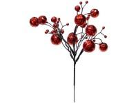 Dekorativní větvička s kuličkami červená