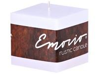 Emocio Rustic kostka 50mm bílá svíčka