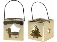 Lampa kov 70 mm hvězda, stromek zlatá mix