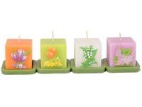 Kostka Květy 50x60 na svícnu, vonná svíčka mix