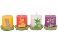 Válec Květy 50x60 na svícnu,vonná svíčka mix