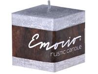 Emocio Rustic kostka 50mm stříbrná svíčka