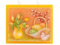 Velikonoce Plochá 130x110 Tři knoty Velikonoční svíčka