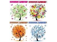 Fólie okenní 335x300 mm Čtyři roční období mix barev