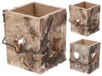 Lucerna dřevo 130x100 mm čtvercová vzor kůry mix