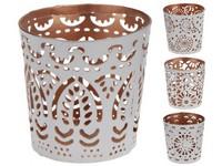 Svícen kov 65 mm bílý, bronz na čajovou svíčku mix