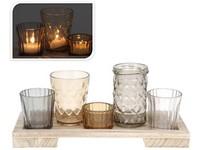 Svícen sklo sada 5ks + dřevěný podtácek