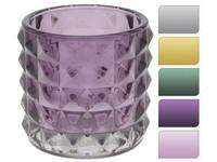Svícen sklo 100x90 mm na maxi čajovu svíčku mix