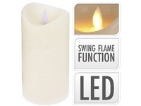LED svíčka reálný plamen 75x150 mm sl. kost