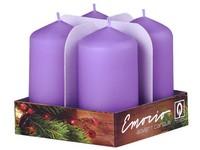 Emocio adventní válec 4ks 35x65 sv. fialové svíčky