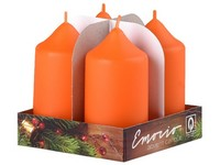Emocio adventní válec 4ks 40x75 oranžová svíčka