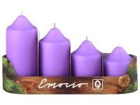 Emocio adventní stupně 4ks 50mm sv. fialové svíčky