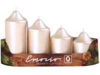 Emocio adventní stupně 4ks 50mm perla krém svíčky