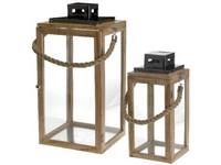 Lucerna dřevo, kov set 2ks 220x440 mm a 180x340 mm