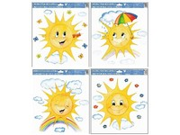 Folie okenní 335x300 mm Malované sluníčko mix