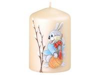 Velikonoční zajíček Válec 55x80 krémová svíčka