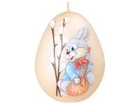 Velikonoční zajíček Vajíčko 60mm krémová svíčka