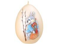 Velikonoční zajíček Vajíčko 80mm krémová svíčka
