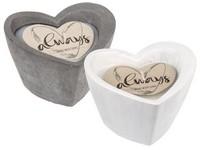 Svíčka 95x70 mm v keramickém srdci mix