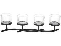 Svícen kov 500 mm černý na 4ks čaj. svíčky