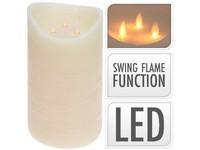 LED svíčka 3 reálné plameny 150x250 mm sl. kost